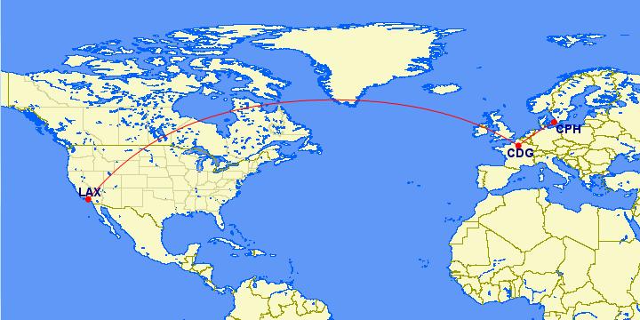 Map of LA to Denmark