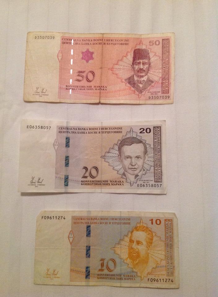 Bosnian marks worth about 40 euro.