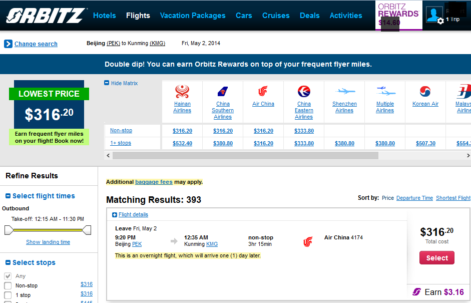 Screen shot of Orbitz fare