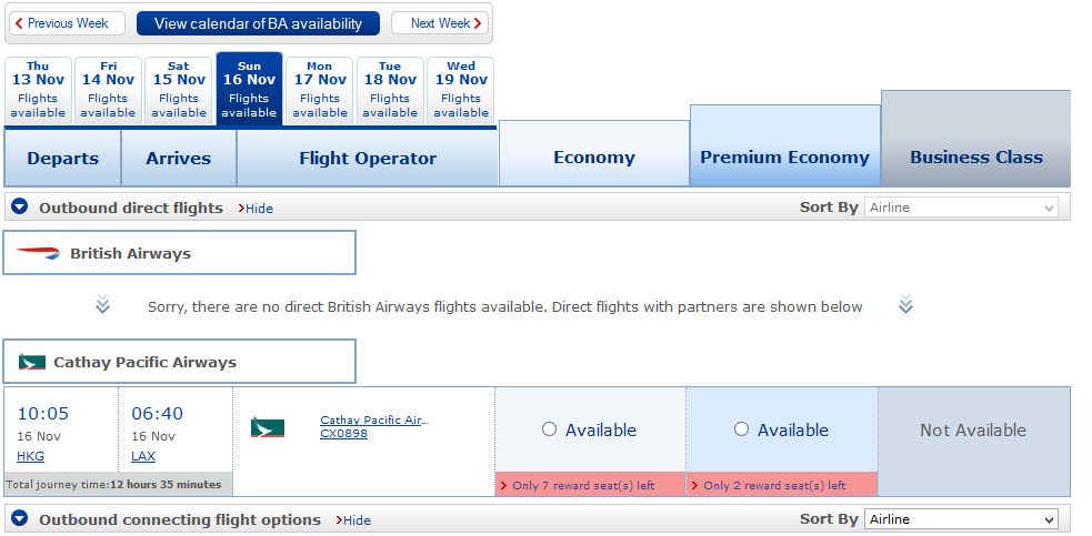 Hong Kong to LAX availability