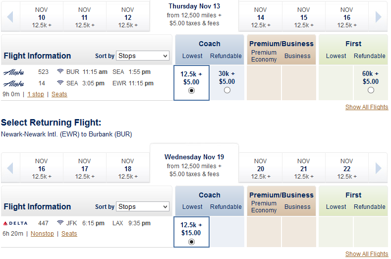 Alaska Airlines availability calendar