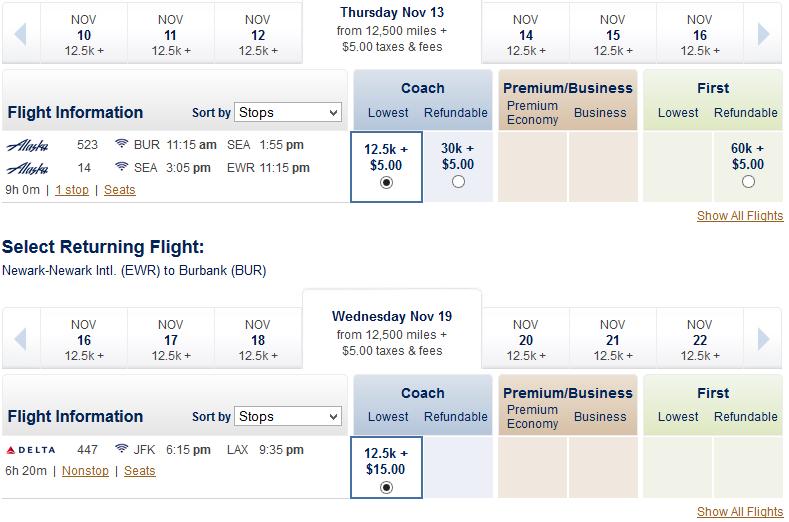 Alaska Airlines availability calendar