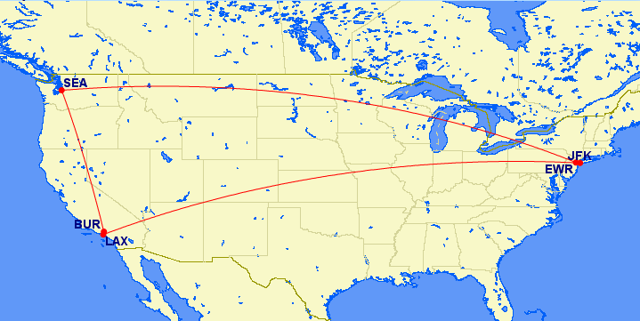 bur-sea-ewr-jfk-lax map