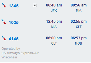 JFK-MIA-CLT-MOB itinerary screenshot