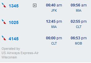 JFK-MIA-CLT-MOB itinerary screenshot