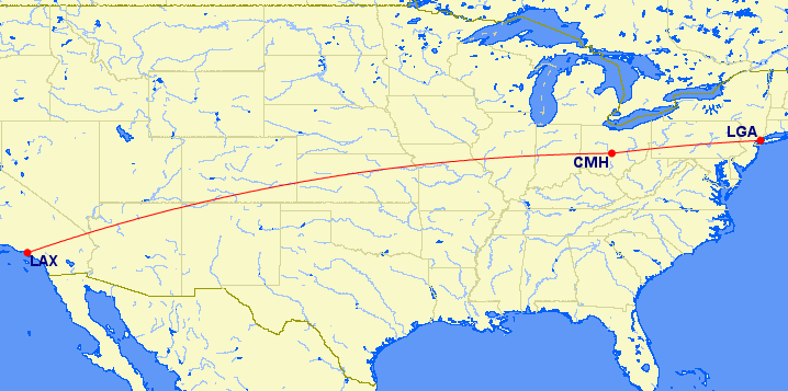 LGA-CMH-LAX map