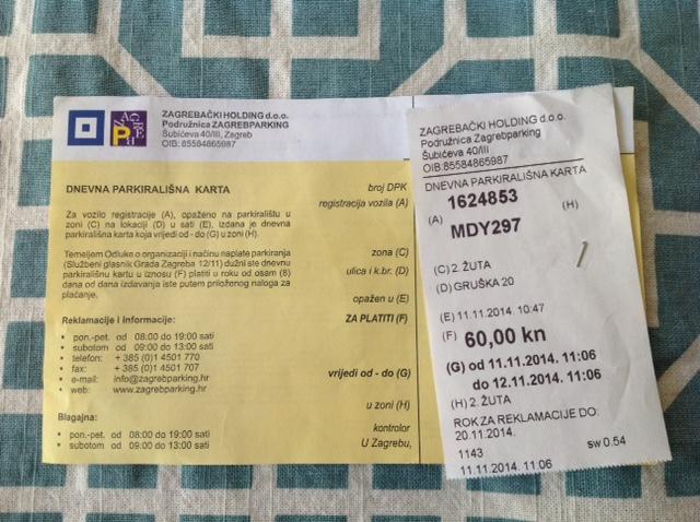 Zagreb parking ticket image