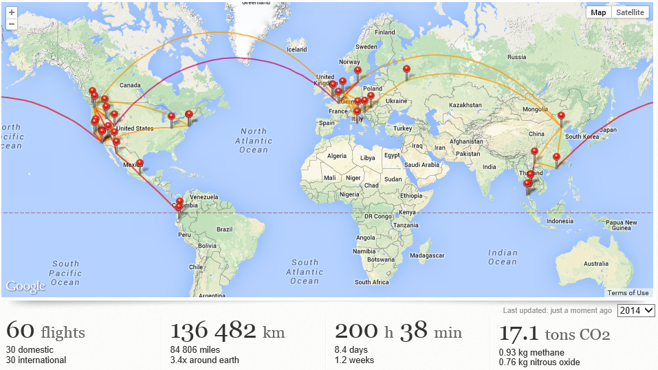 Map of my travel in 2014