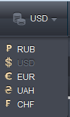 Currency selection menu
