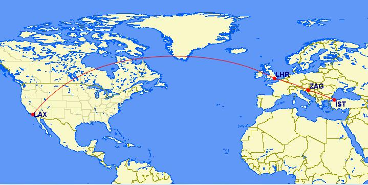 IST-ZAG-LHR-LAX map