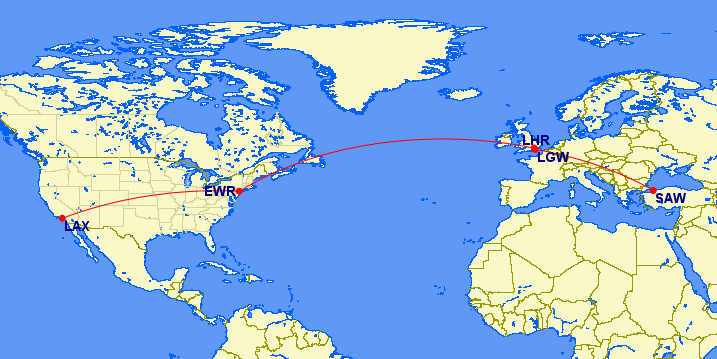 lax-ewr-lhr-lgw-saw map