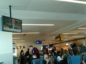 Busy Delta departure area at JFK