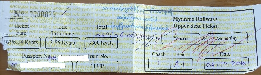 Myanmar train ticket