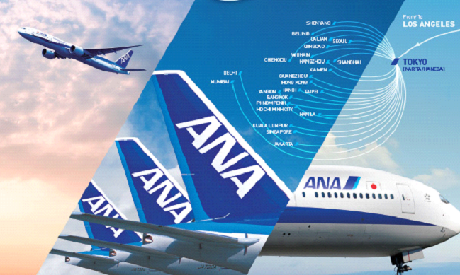 ANA promotional route map with connecting destinations