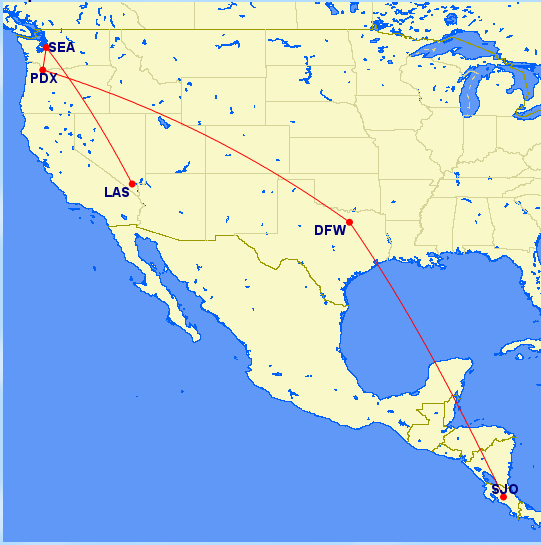 map sjo-dfw-pdx-sea-las
