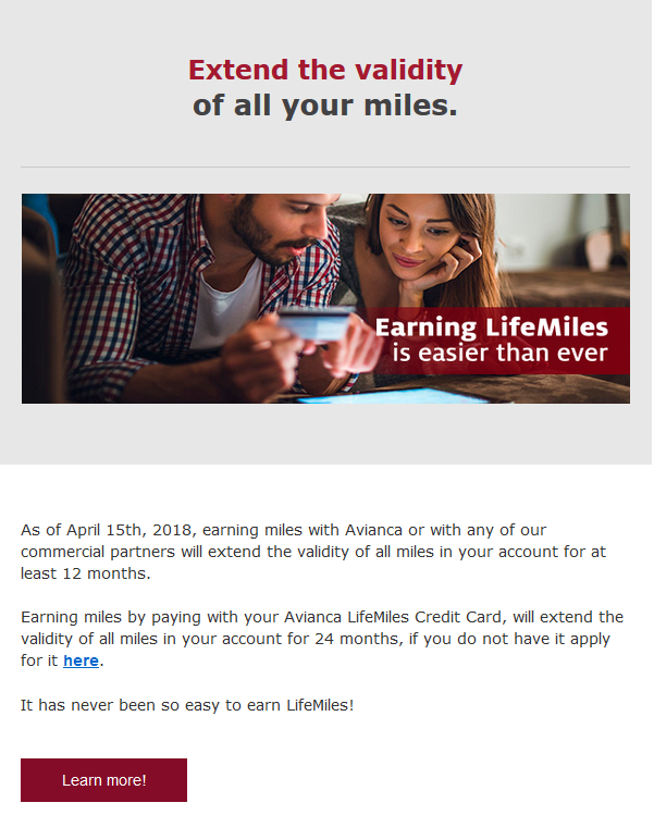 lifemiles validity shortened
