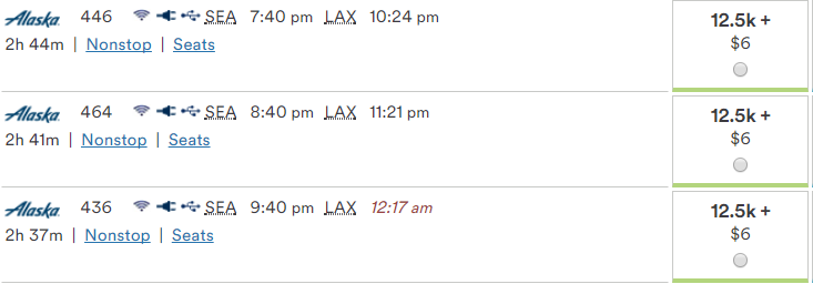 12,500 point pricing SEA-LAX