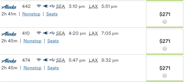 $271 fare from SEA to LAX