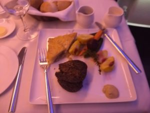 Steak with roasted baby vegetables