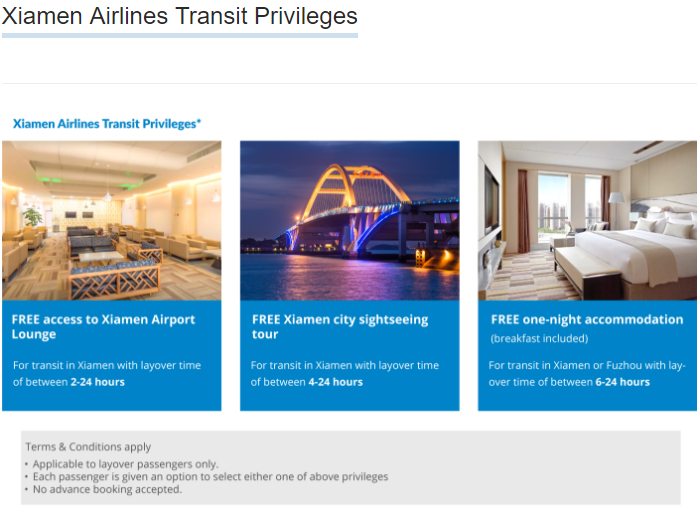 xiamen airlines transit hotel policy