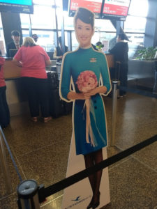 cardboard cut-out of flight attendant