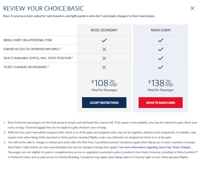 Delta basic economy warning