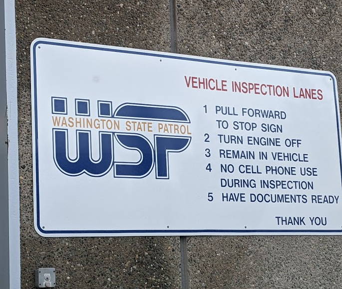 Washington State Patrol inspection sign